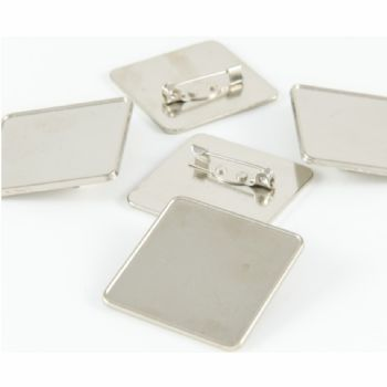 Premium badge square 33mm silver pin clasp & clear dome